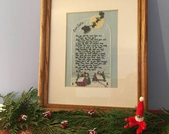 Dear Santa framed cross stitch picture
