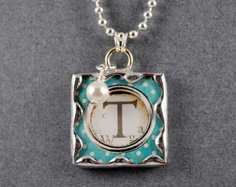 Typewriter Style Initial Pendant Personalized Necklace Soldered Glass Pendant