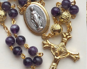 Handmade Catholic Rosary, Gold and Silver Tones, Purple Amethyst, Italian Rosebuds, Miraculous Medal Center, February Birthstone, FreeShipUS
