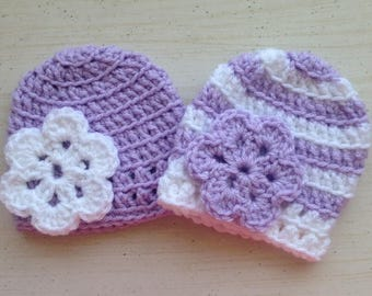 FREE SHIPPING, Twin hat sets, Twin girl hat set, Baby girl hat, Baby hats, Crochet baby hats, Baby beanies, Crochet baby hats, Handmade