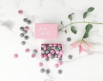 Luxury pink wedding favour boxes, romantic wedding favours, handwritten calligraphy boxes, diy wedding favours