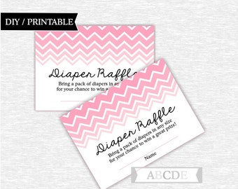 Instant Download Pink Chevron Girl Baby Shower Party Diaper Raffle Cards Baby shower DIY Printable (CHE101)