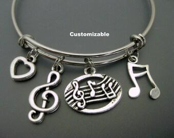 Music Bracelet / Music Lover Bracelet /  Music Teacher Bangle / Band Bracelet / Musical Note  / Treble Clef / Music Charm Bracelet /