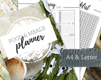 FOOD & MEALS PLANNER - Printable planner - Instant Download - Home Management Binder - Home File - 26 page pdf in A4 and Letter sizes
