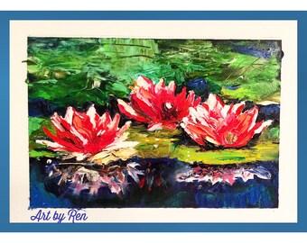 Three waterlily flowers