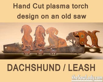 Dachshund Design with Leash holders! Hand (plasma) Cut Hand Saw Metal Art | Wall Decor | Garden Art | Recycled Art | Made to Order