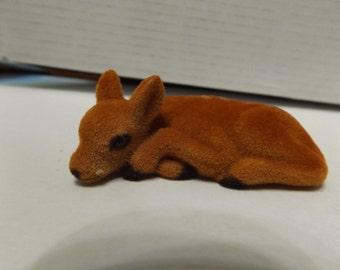Dollhouse Miniature Fairy Garden Animal Deer Mini Flocked Deer fawn Lying Down Pose  2.5 inches long