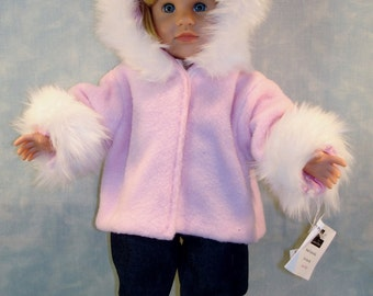 18 Inch Doll Clothes - Pink Fur Trimmed Polar Fleece Jacket made to fit 18 inch dolls