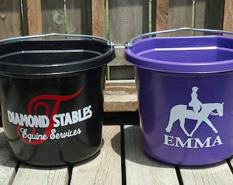 Personalized Horse Buckets // Horse Decal // Horseshoe // Horse Supplies // Equestrian // Equine // Horse Head // Horse Gift