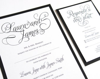 Simple Elegance Wedding Invitation, Classical Wedding Invites, Simple Wedding Invitations, Calligraphy Wedding Invitations, SAMPLE