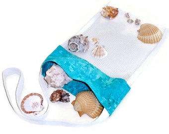 Sea Shell Collecting, Beachcomber Bag, Turquoise Mesh Beach Bag, Cross Body Shell Tote Bag, Vacation Beach Bag, Gift for Girls and Women