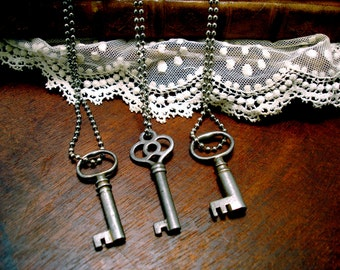 Small Antique Key Necklace, Silver Key Necklace on Bead Chain, Simple Rustic Key Pendant, Little Vintage Key Necklace