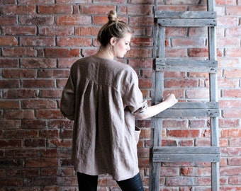 Artist Smock  Loose Linen Tunic  Plus size tunic   Oversized Tunic, Linen Tunic Dress, Women Linen Overalls