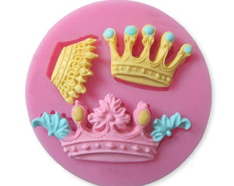 silicone crown  mold, princess crown,  fondant mold, gum-paste mold, candy mold, chocolate mold, cake mold, polymer clay mold, resin mold