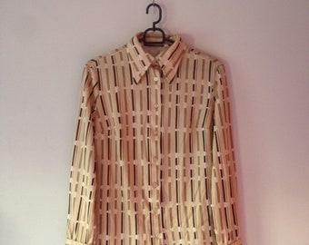 Vintage Shirt UK Size 10 (S) striped: white/brown/beige
