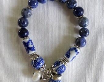 Blue Sodalite Beaded Charm Bracelet, Charm Bracelet with Dark Blue Beads, Oriental Charm Bracelet