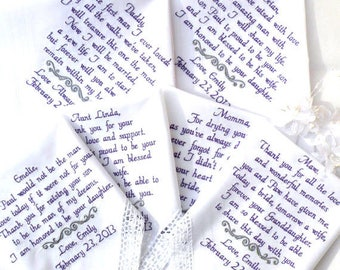 Set of 6 Embroidered Wedding Handkerchiefs Custom Sayings Family Gift Set Wedding day gift mom and dad grandparents They can be for anyone