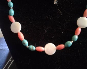 Turquoise, Peach Coral and White Shell Beaded Necklace and Bracelet Set, #520