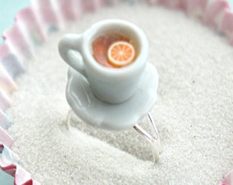 lemon tea cup ring- tea ring, tea party jewelry, miniature food jewelry