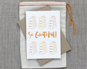 So Grateful: Cheese Grater Kitchen Culinary Notecard Set