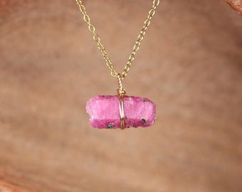 Ruby necklace - july birthstone - raw ruby - raw crystal necklace - gypsy boho necklace