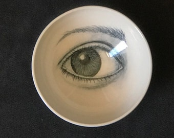 Porcelain Bowl, Unique Pottery, Drawing of an Eye, Handmade Bowl, Collectible Bowl, White and Black