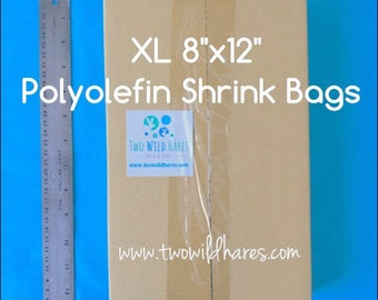 "500- XL 8x12"" POLYOLEFIN Shrink Bags, Smell Thru Plastic For Small Gift Sets & XL Items, 75g,  Bath Bomb Wrap, Two Wild Hares"