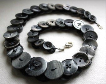 Charcoal Grey button necklace Button Necklace Button Jewellery Button Jewelry UK Handmade Free UK Shipping