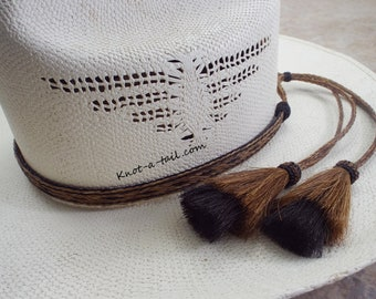Long-tail Horsehair hatband, hangs-off hat, Cinnamon-black, Romantic, Cowboy hat band, double horsehair tassels, Stunningly Romantic design