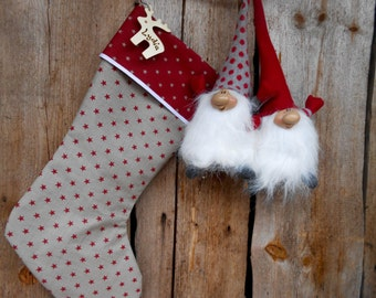 Christmas Stocking Christmas Gift Christmas Decor Holiday Decor Personalized Stocking Scandinavian Christmas Deer Tag Star Decor
