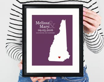 New Hampshire State Map Wedding Gift, First Anniversary Paper Gift, New England Guestbook Sign, Engagement Gift, Bridal Shower - Art Print