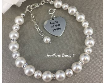 Nana of the Bride Charm Bracelet Gift for Nana Wedding Bracelet Gift for Grandma Bridal Party Jewelry Gift Idea Nana Jewelry
