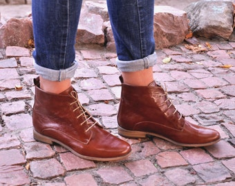 Burton - Womens Fall Boots, Lace-up Leather Boots, Brogue Boots, Ankle Boots, Custom boots, Brown boots, FREE customization!!!!