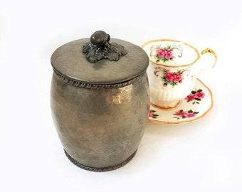 SALE Vintage Pewter Tea Container Italian Pewter Coffee Container, Pewter Storage Box Container, Pewter Kitchen Decor , Retrò Tableware