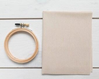 16 count Aida Cloth Cross Stitch Fabric | 100 percent Cotton Aida Fabric for Cross Stitch Embroidery - Lambswool (16 ct)