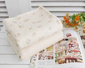 "Organic Cotton Interlock Knit Lamb - Printed or Solid - 61"" Wide - By the Yard 64220"