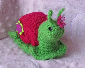 Made to Order:  Daisy Lynn the Snail, Crocheted Amigurumi Toy