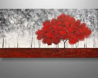 Abstract Painting Art Original Painting Landscape Tree Painting by Gabriela 48x24 black white red Decor Home Decor Texture Modern Painting