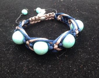 Emotional Balanced Turquoise Magnesite 14mm  Bracelet, Triple braided navy blue and brown cord, Macrame