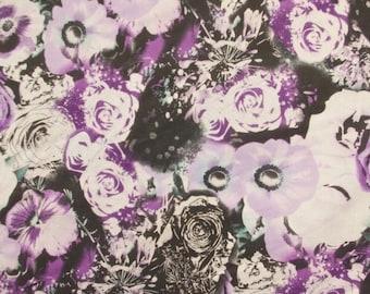 Purple Monochrome Flower Polycotton Fabric - 58 Inches Wide