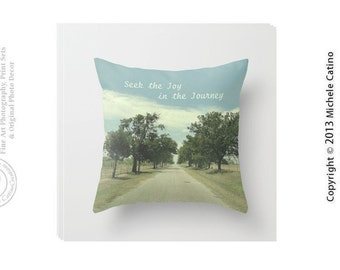 Country Road Blue Sky Photo Pillow Dirt Road Winding Path Inspirational Journey Saying Adventure Inspire Rustic Photo Throw Pillow Cover