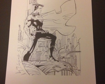 A3 'Superman looking out over Metropolis', (Original Ink Drawing).