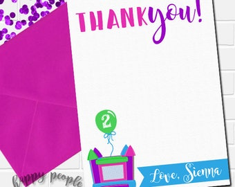 Girl Bounce House Thank You Card, Bounce House Birthday Thank You Note, Girly Bouncy House Party, Personalized Thank You Card, Pink Bounce