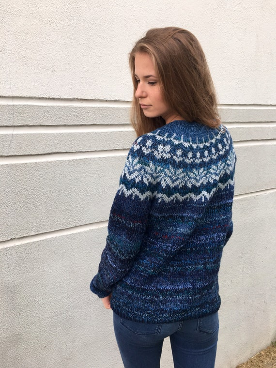 Cashmere sweater Blue sweater Fair Isle sweater Merino sweater