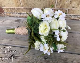 White wildflower wedding bouquet with burlap wrap
