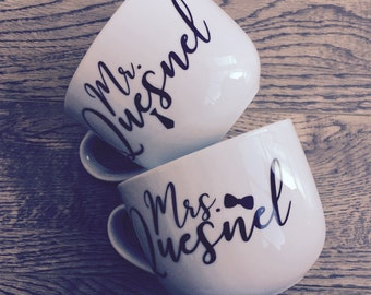 Mr. and Mrs. Personalized Coffee mug Set of 2 *16 oz* Assorted Metallic Colours. *Mate finish upon request*