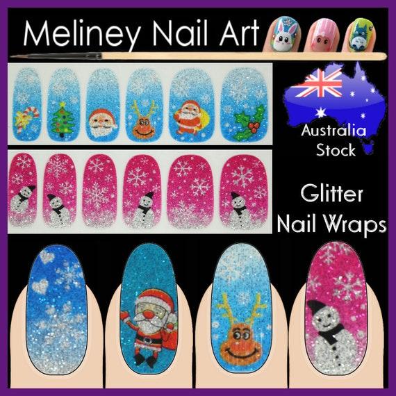 Glitter Nail Wraps Full Cover Nails Art Stickers xmas