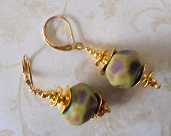 Olive Green, Brown and Gold Lampwork Earrings (4153)