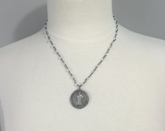 Crystal beaded necklace with soldered St Benedict metal
