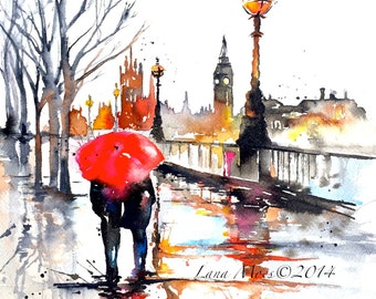 London Travel Watercolor Illustration -  Print from Original Watercolor Painting Cityscape Romance - Lana's Art - Wanderlust Illustration